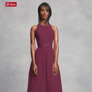 Vera Wang CREPE AND TULLE T-BACK BRIDESMAID DRESS